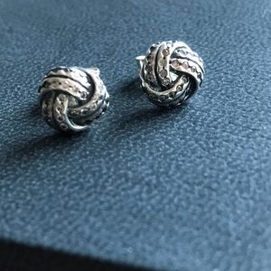 Jewelry - Sterling Silver and CZ Love Knot Earrings
